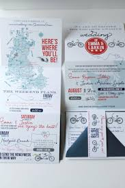 z fold wedding invitation with casual bike wedding weekend