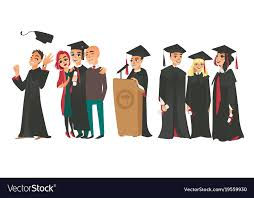 caps and gowns college graduates boys and girl in caps and gowns vector image