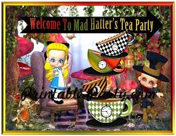 Mad Hatter Decorations Printable Mad Hatters Tea Party Supplies Wonderland Tea Party