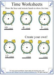 time worksheets telling the hour