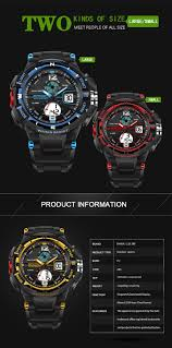 sanda 289 fashion led dual display men watch 30m waterproof sport
