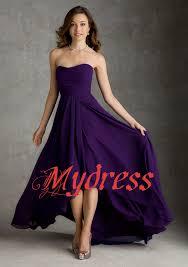 charming short front long back chiffon high low purple bridesmaid