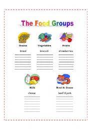 worksheet the 5 food groups