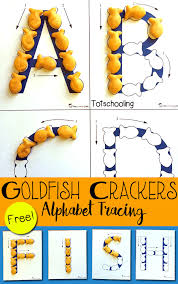 goldfish crackers alphabet tracing totschooling toddler