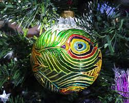 buy glass christmas ball with stained glass painting peacock