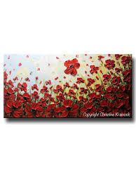Poppy Home Decor by Original Art Abstract Painting Red Flowers Poppy Large