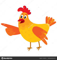 funny cartoon chicken hen pointing to something with wing u2014 stock