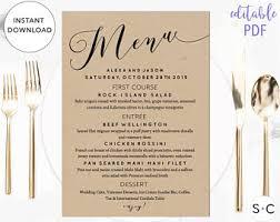 rustic wedding menu etsy