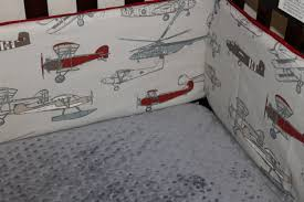 Airplane Crib Bedding Airplane Crib Bedding Vintage Airplane Pewter Chevron And Gray