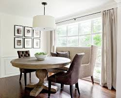 beautiful image of dining room decoration using tufted dark brown