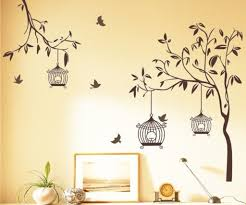 buy stickerskart wall stickers tree with birds and cages brown buy stickerskart wall stickers tree with birds and cages brown 140cm x 110cm
