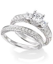bridal set rings certified diamond three engagement ring bridal set in 14k
