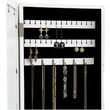 Over The Door Jewelry Cabinet Over The Door Mirrored Hanging Jewelry Armoire With Etched Scroll