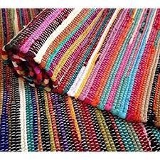 amazon com large rainbow chindi area rag rug recycled cotton