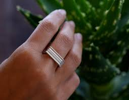 7mm ring sterling angled grooved strata ring 7mm diameter band