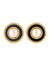accessorize clip on earrings chanel gold and faux pearl logo border vintage clip on earrings