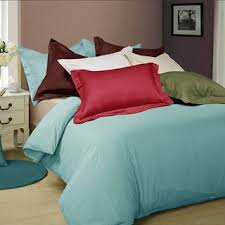Duvet Cover Teal Egyptian Cotton 600 Thread Count Oversized 3 Piece Duvet Cover Set