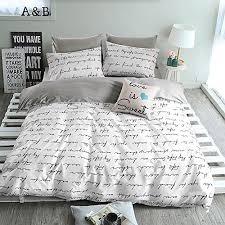 Premium Bedding Sets Bulutu Letters Print Cotton Duvet Cover Set White Gray