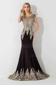 Black And Gold Lace Prom Dress Black Gold Lace Applique Mermaid Evening Gowns Capped Sleeves