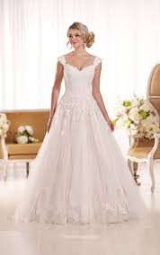 cap sleeves floor length chapel train a line lace wedding dress