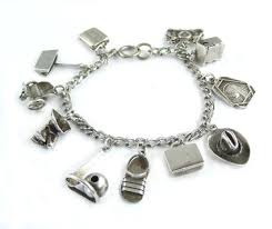 1940 s sterling silver charm bracelet 11 charms 3d charms