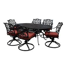 7 Piece Aluminum Patio Dining Set - villa flora 7 piece cast aluminum patio dining set w oval table