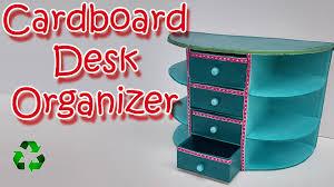 Diy Mini Desk Lamp How To Make A Cardboard Desk Organizer Ana Diy Crafts Youtube