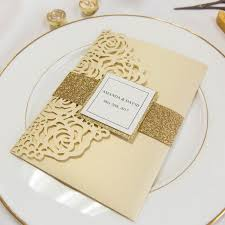 wedding invitations luxury luxury pale gold glitter laser cut pocket wedding invitations