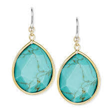 turquoise drop earrings fossil goldtone semiprecious turquoise drop earrings in metallic