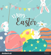 Background Of Invitation Card Happy Easter Poster Invitation Card Background Stock Vector