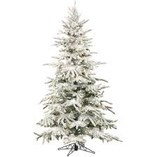 artificial christmas tree fraser hill farm 9 ft pre lit led flocked mountain pine