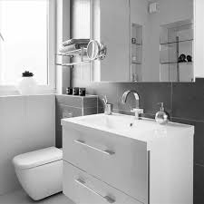 wall mounted storage brown grey and white bathroom ideas color