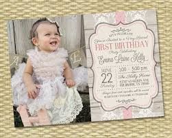 1st birthday invitation rustic vintage wood lace and ribbon