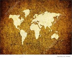 Old World Map Signs And Info Old World Map On Retro Paper Stock Illustration