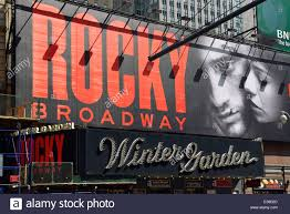 rocky sign billboard and entrance to winter garden theater new