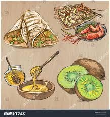 cuisine diet food menu international cuisine set cooking เวกเตอร สต อก 733210996