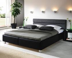 Schlafzimmer Komplett Bett 140 Günstiges Polsterbett In Schwarzem Kunstleder Sanremo