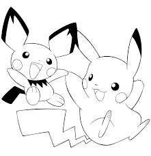 pikachu and pichu coloring pages on coloring pages design ideas