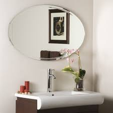 Bathroom Wall Mirror by Bathroom Brushed Nickel Wall Mirror Oval Mirrors For Bathroom