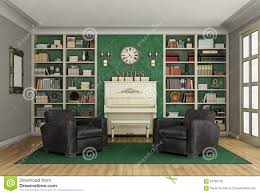Living Room Bookcase Luxury Living Room Bookcase And Upright Piano Stock Illustration