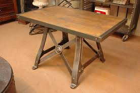 French Industrial Desk French Vintage A Frame Industrial Table With Wood Top
