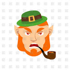 dissatisfied leprechaun with red beard and pipe vector image