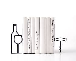 metal kitchen bookends less whine more wine modern home