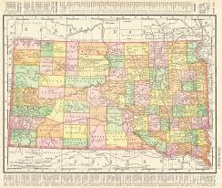 South Dakota Map With Cities Maps Antique United States Us States South Dakota