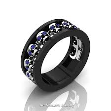 mens blue wedding bands mens modern 14k black and white gold blue sapphire skull channel