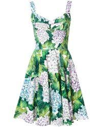 dolce u0026 gabbana hydrangea print shift dress in green lyst