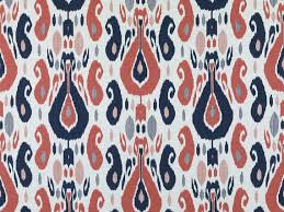 Coral And Navy Curtains Navy Blue Coral Ikat Upholstery Fabric Large Scale Blue Coral