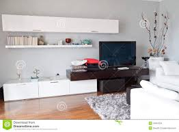 white livingroom furniture interior of a living room flat tv white furniture stock images