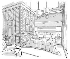 dessin chambre dessin de croquis intérieur de vecteur d ensemble de chambre à