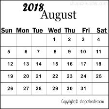 printable calendar 2018 august august 2018 printable calendar blank free calendar templates